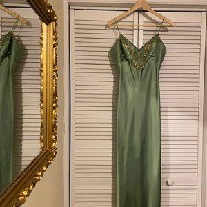 Embellished Green Satin Formal Dress